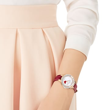 Montre Lovely Crystals Mini, Bracelet en cuir, rouge, or Rose - Swarovski, 5297584