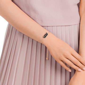 Pulsera Swarovski Iconic Swan, negro, Baño en tono Oro Rosa - Swarovski, 5344132