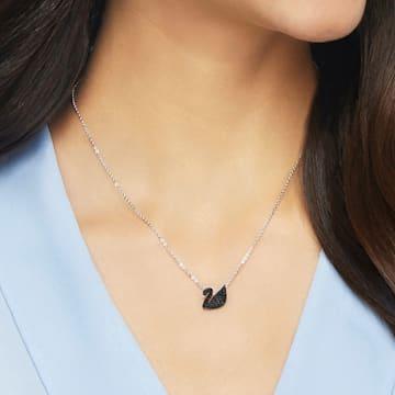 Swarovski Iconic Swan 链坠, 天鹅, 小码 , 黑色, 镀铑 - Swarovski, 5347330