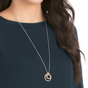 Hollow pendant, Circular, Medium, White, Rose gold-tone plated - Swarovski, 5349418