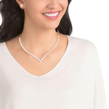 Angelic Square 套裝, 大碼, 白色, 鍍玫瑰金色調 - Swarovski, 5351304