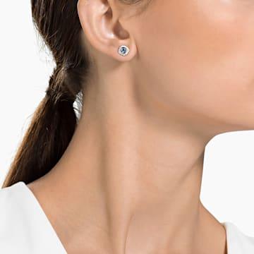 Angelic stud earrings, Square, Blue, Rhodium plated - Swarovski, 5352048