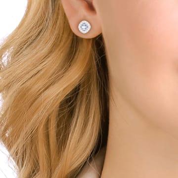 Angelic 耳釘, 正方形切割, 藍色, 鍍白金色 - Swarovski, 5352048