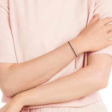 Pulsera Subtle, negro, Baño en tono Oro Rosa - Swarovski, 5352092