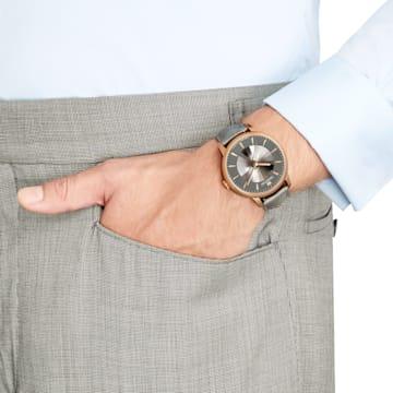 Męski zegarek automatyczny Atlantis z limitowanej edycji, pasek ze skóry, szary, powłoka PVD w odcieniu różowego złota - Swarovski, 5364203