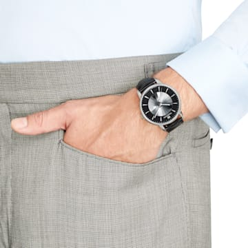 Montre Automatique pour Hommes Atlantis Edition Limitée, Bracelet en cuir, noir, acier inoxydable - Swarovski, 5364209
