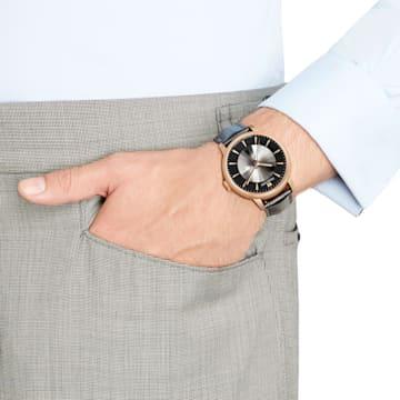 Orologio automatico maschile Atlantis edizione limitata, Cinturino in pelle, nero, PVD tonalità oro rosa - Swarovski, 5364212