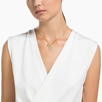 Lisabel 項鏈, 白色, 鍍金色色調 - Swarovski, 5365641
