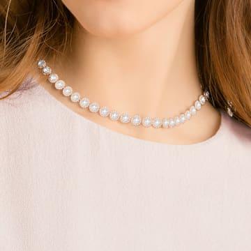 Angelic 项链, 圆形切割, 白色, 镀玫瑰金色调 - Swarovski, 5367845