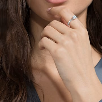 Attract ring, Square cut crystal, White, Rhodium plated - Swarovski, 5372880