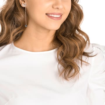 Swarovski Iconic Swan 穿孔耳環, 咖啡色, 鍍玫瑰金色調 - Swarovski, 5373164