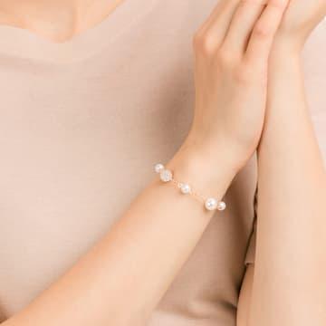 Swarovski Remix Collection Round Pearl Strand, blanco, Baño en tono Oro Rosa - Swarovski, 5373260