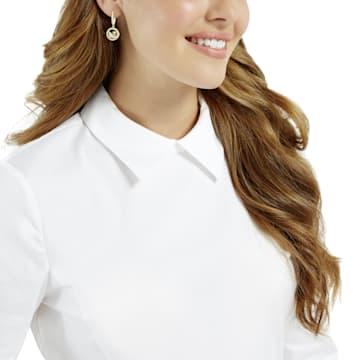Leather Swan Pierced Earrings, White, Gold-tone plated - Swarovski, 5374918