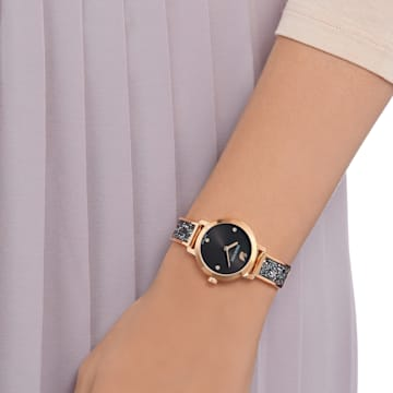 Reloj Cosmic Rock, Brazalete de metal, negro, PVD en tono Oro Rosa - Swarovski, 5376068