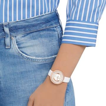 Montre Crystalline Pure, Bracelet en cuir, blanc, PVD doré rose - Swarovski, 5376083