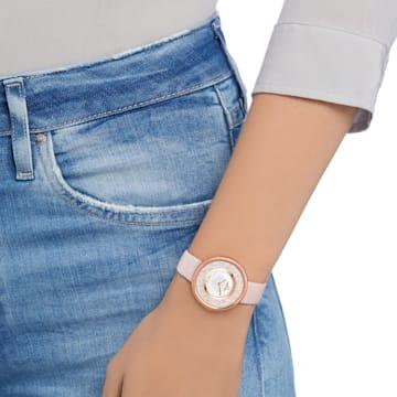 Montre Crystalline Pure, Bracelet en cuir, rose, PVD doré rose - Swarovski, 5376086