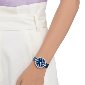 Aila Dressy Lady-horloge, Leren horlogebandje, Blauw, Roestvrij staal - Swarovski, 5376633