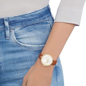 Dámské hodinky Aila Dressy, s koženým páskem, hnědé, zlaté PVD - Swarovski, 5376645