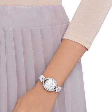 Hodinky Stella s koženým páskem, bílé, nerezová ocel - Swarovski, 5376812