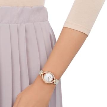 Hodinky Stella s koženým páskem, šedé, PVD v odstínu růžového zlata - Swarovski, 5376830