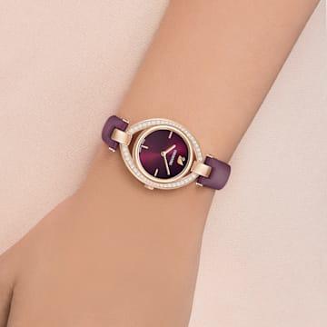 Relógio Stella, pulseira em cabedal, vermelho‑escuro, PVD rosa dourado - Swarovski, 5376839