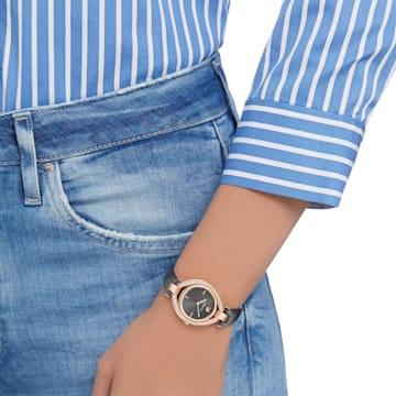 Stella 手錶, 真皮錶帶, 暗灰, 玫瑰金色調PVD - Swarovski, 5376842