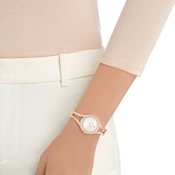 Orologio Eternal, Bracciale di metallo, bianco, PVD oro rosa - Swarovski, 5377576