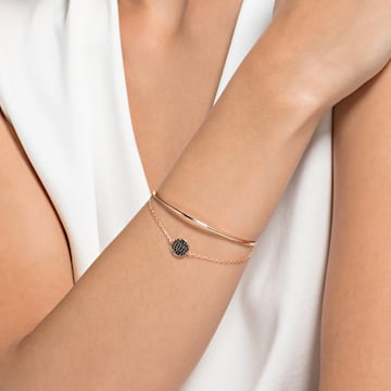 Bracelet-jonc Ginger, gris, Métal doré rose - Swarovski, 5389046