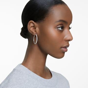 Stone 穿孔耳环, 白色, 镀铑 - Swarovski, 5389432