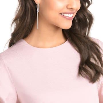 Lifelong Hoop Pierced Earrings, White, Rhodium plated - Swarovski, 5392184