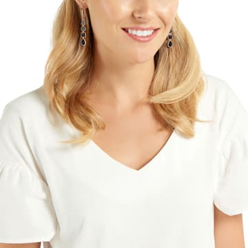 Lisanne Pierced Earrings, Black, Rose-gold tone plated - Swarovski, 5395239