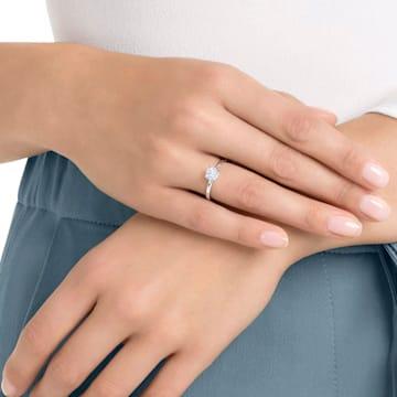 Pierścionek Attract, biały, powlekany rodem - Swarovski, 5402428