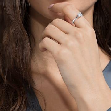 Pierścionek Attract, biały, powlekany rodem - Swarovski, 5402435