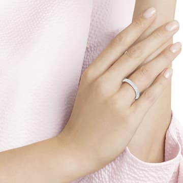 Pierścionek Stone, biały, powlekany rodem - Swarovski, 5402437