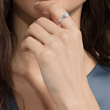 Bague avec motif Attract, blanc, Métal rhodié - Swarovski, 5402444