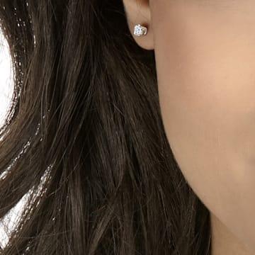 Attract Round 穿孔耳环, 白色, 镀铑 - Swarovski, 5408436
