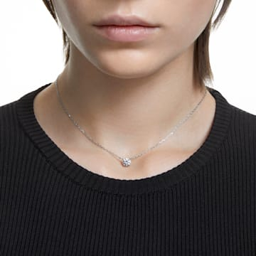 Attract Round 项链, 白色, 镀铑 - Swarovski, 5408442
