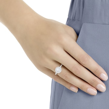 Prsten Attract Round, Bílý, Rhodiem pokovený - Swarovski, 5409189
