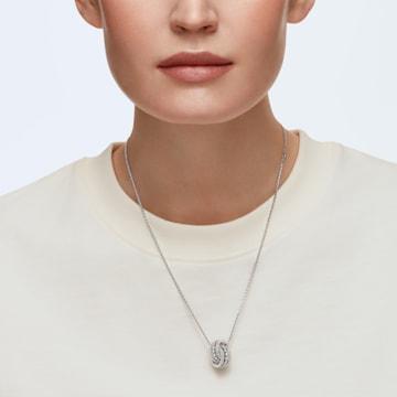 Further pendant, Pavé, Interlocking loop, White, Rhodium plated - Swarovski, 5409696