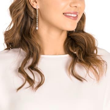 Louison 穿孔耳環, 白色, 鍍白金色 - Swarovski, 5409732