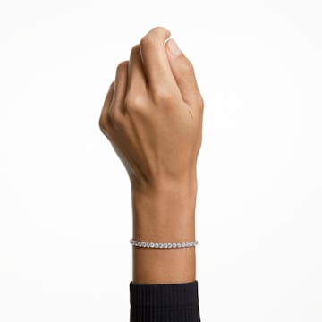 Tennis Deluxe-armband, Wit, Rodium-verguld - Swarovski, 5409771