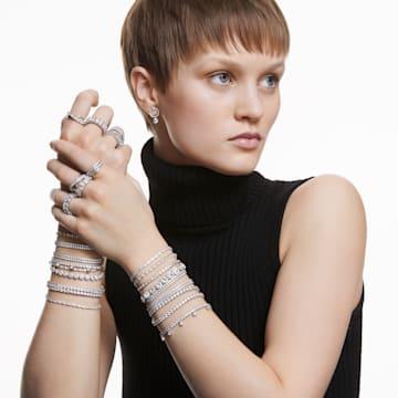 Tennis Deluxe bracelet, Round cut crystals, White, Rhodium plated - Swarovski, 5409771