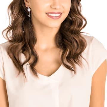 Melt Your Heart Key Pierced Earrings, White, Rose-gold tone plated - Swarovski, 5412410