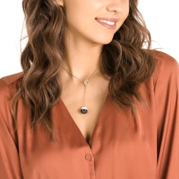 Maxi Y Necklace, Black, Gold-tone plated - Swarovski, 5412677