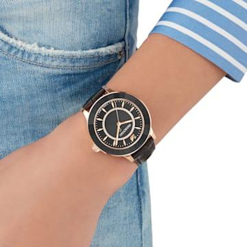 Octea Lux 手錶, 真皮錶帶, 黑色, 玫瑰金色調PVD - Swarovski, 5414410