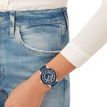 Octea Lux Saat, Deri kayış, Mavi, Pembe altın rengi PVD - Swarovski, 5414413