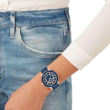 Octea Lux Uhr, Lederarmband, blau, Rosé vergoldetes PVD-Finish - Swarovski, 5414413