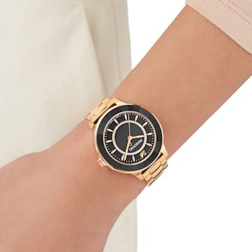 Octea Lux Saat, Metal bileklik, Siyah, Pembe altın rengi PVD - Swarovski, 5414419