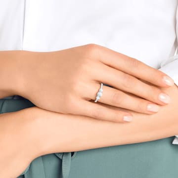 Attract Trilogy ring, Round, White, Rhodium plated - Swarovski, 5414972