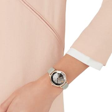 Crystal Lake-horloge, Leren horlogebandje, Grijs, Roségoudkleurig PVD - Swarovski, 5415996